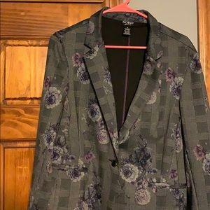 Soho grey blazer with faded purple flower pattern